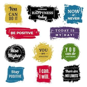 Distintivi di motivazione. etichette di vernice pennello inchiostro sfondo grunge con set di testo. l'illustrazione motiva il positivo disegnato a mano del titolo