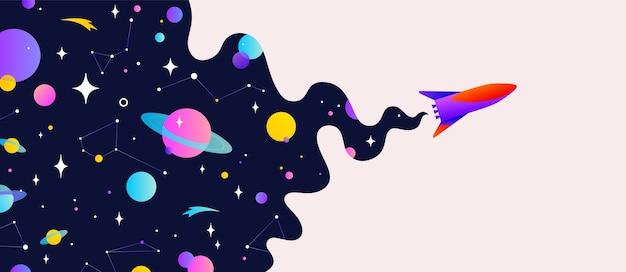 Banner di motivazione con universo cloud