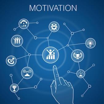 Concetto di motivazione, sfondo blu. obiettivo, prestazione, realizzazione, icone di successo