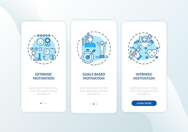 Tipi di motivazione onboarding schermata della pagina dell'app mobile con concetti