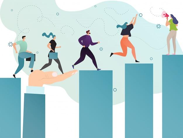 Motivazione per la riuscita gente di affari, concetto di scopo del leader della squadra, illustrazione