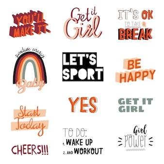 Scritte motivazionali per sport e fitness realizzate in stile doodle, comprese citazioni ispiratrici alla moda e fantastici elementi stilizzati