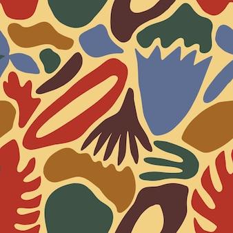 Motivo senza cuciture eterogeneo con macchie colorate astratte, forme e foglie tropicali su sfondo bianco. illustrazione vettoriale moderna in stile piatto per carta da imballaggio, carta da parati, sfondo, stampa.