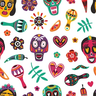 Motley seamless pattern con teschi di zucchero messicani