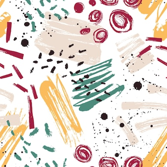 Motley seamless pattern con macchie di vernice, segni, tracce, scarabocchio su bianco.