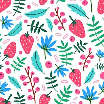 Motley seamless pattern con fragole estive, fiori e foglie