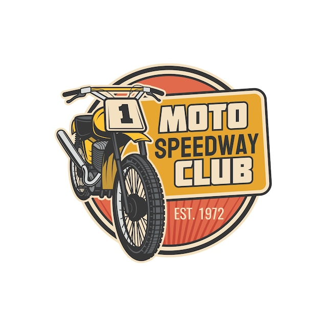 Moto speedway club icona vettoriale di moto sportiva o veicolo a motore con ruote, motore e targa di gara. progettazione di simboli isolati da competizione, motocross e rally di motociclismo