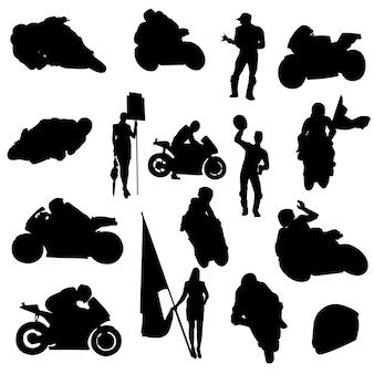 Vettore automobilistico della siluetta di simbolo di clipart di moto sport