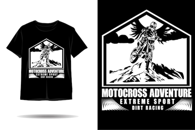 Disegno della maglietta silhouette avventura di motocross