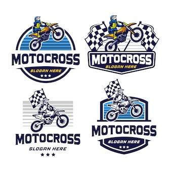 Modello di logo distintivo di motocross