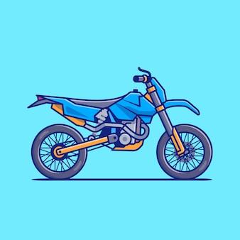 Illustrazione dell'icona del fumetto della bici di motocross. concetto dell'icona del veicolo del motociclo isolato. stile cartone animato piatto