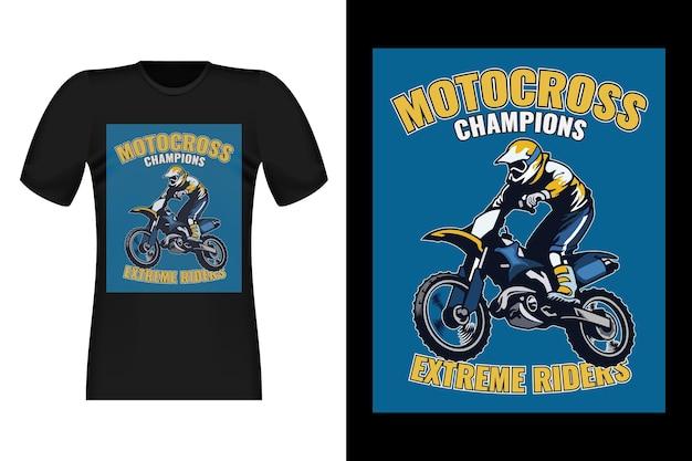 Design di t-shirt vintage stile disegnato a mano di campioni di motocross