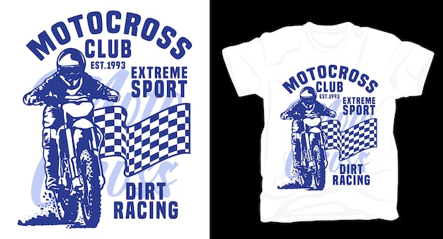 Tipografia di sport estremi del club di motocross con t-shirt pilota