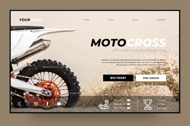 Modello di pagina di destinazione del club di motocross