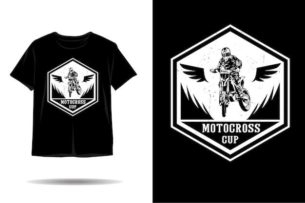 Disegno della maglietta della silhouette della tazza di motocross