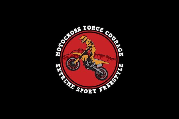 Motocross, silhouette di design in stile retrò