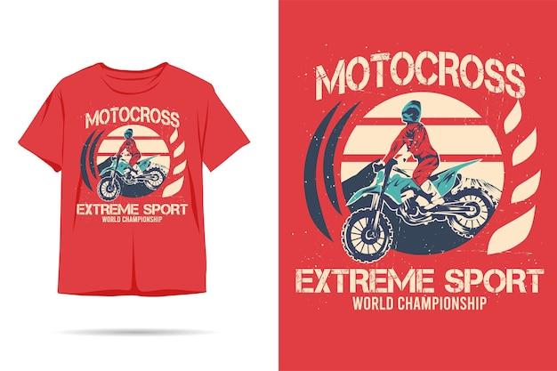Design della maglietta dalla silhouette estrema di motocross