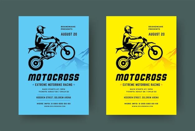 Modello moderno di evento flyer motocross e moto fuoristrada con silhouette di motociclista.