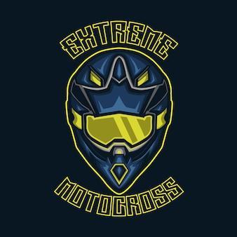 Casco da motocross con text is extreme nella parte superiore e motocross nella parte inferiore.