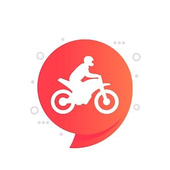 Icona di motocross con una moto, vettore
