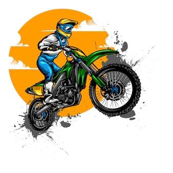 Disegni di illustrazione di motocross su tinta unita