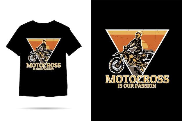Il motocross è la nostra passione per il design della tshirt silhouette