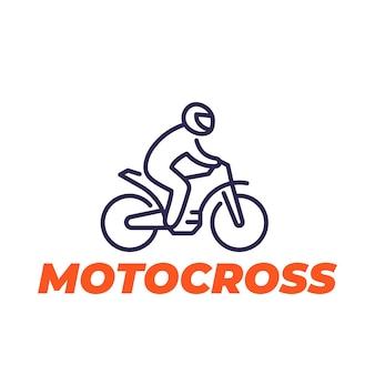 Icona della linea di motocross, pilota su una moto