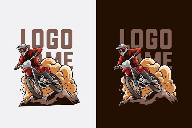 Illustrazione del design del logo di motocross