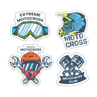 Insieme del modello di logo di motocross