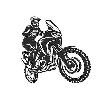 Illustrazione monocromatica del logo del driver della motocicletta di enduro della corsa di motocross