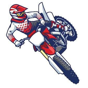 Cavaliere di motocross che fa trucco di salto della frusta
