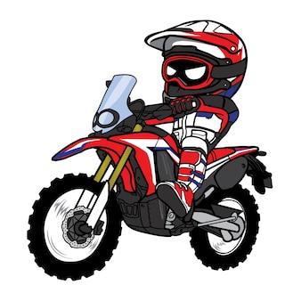 Motocross rider enduro motorcycle cartoon