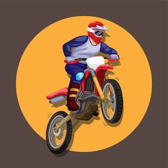 Mascotte del personaggio di azione del pilota di motocross freestyle