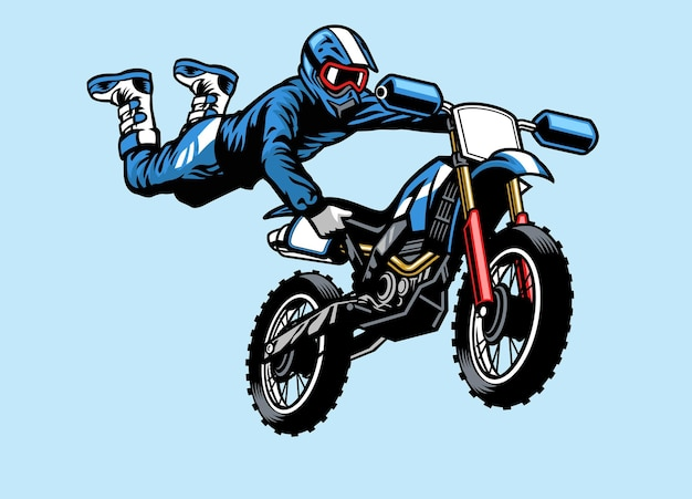 Pilota di motocross che salta sulla moto. con il trucco dell'attacco di cuore