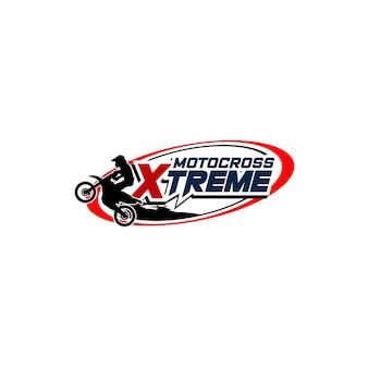 Modello di logo di sport di motocross. logo distintivo sportivo