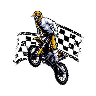 Logo vettoriale di motocross, stile libero di motocross Vettore Premium