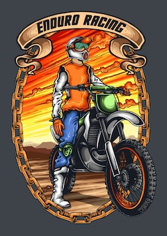 Motocross wacer with helmet and sunset background