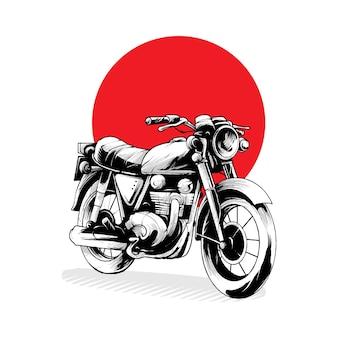 Illustrazione motor classic, perfetta per t-shirt, abbigliamento o design di merchandising