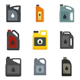 Set di icone di olio motore. set piatto di icone vettoriali olio motore isolato su sfondo bianco