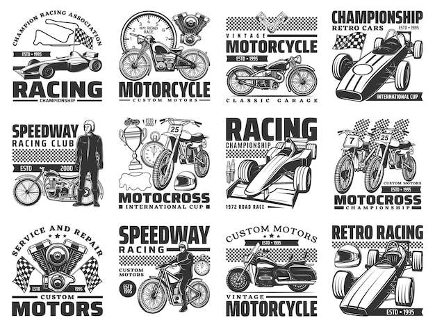 Corse di sport motoristici, set di icone di servizio moto d'epoca. moto da corsa, chopper vintage e moto da cross, formula uno auto retrò e moderna, pistoni del motore, bandiera a scacchi e coppa del campione vettore
