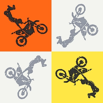 Illustrazione dell'uomo di moto e motociclisti. immagine in stile creativo e sportivo
