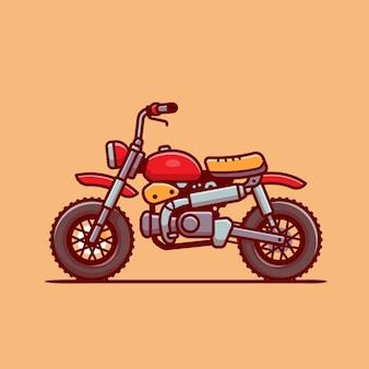 Llustration dell'icona del fumetto della motocicletta. concetto dell'icona del veicolo del motociclo isolato. stile cartone animato piatto