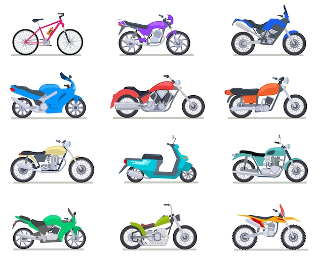 Set moto. moto e scooter, bici e chopper. icone di vettore di vista laterale di motocross e consegna veicoli retrò e moderni. illustrazione scooter e moto, chopper e moto sportiva