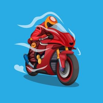 Moto che accelera con illustrazione di concetto di simbolo del flusso d'aria aerodinamico