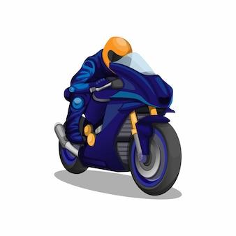 Moto da corsa sportiva accelerando nel concetto di carattere uniforme blu su sfondo bianco