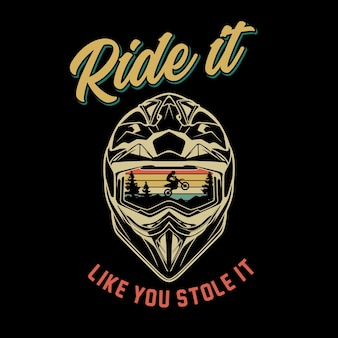Illustrazione grafica del casco motorcross