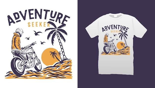 Design della maglietta di avventura in moto