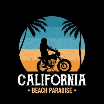 Tipografia motorcycle beach per stampa tshirt con palmbeach e moto