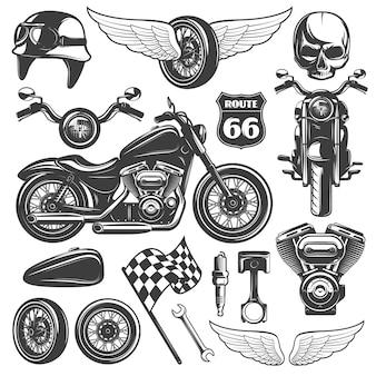L'icona isolata il nero del motociclo ha messo con gli oggetti e gli attributi riconoscibili dell'illustrazione di vettore dei motociclisti