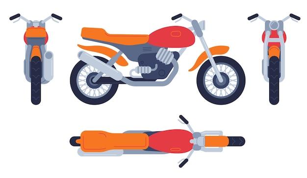 Moto in diverse posizioni. la parte superiore della moto, la vista anteriore posteriore e laterale, i veicoli da motocross dettagliati trasportano il set di vettori di mockup. moto e bici, illustrazione di trasporto moto